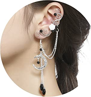 8109ec31a Aifeer Elven Elf Ear Cuffs,Handcraft Pierced Filigree Wrap Earrings Ear  Cuffs for Women Bridal