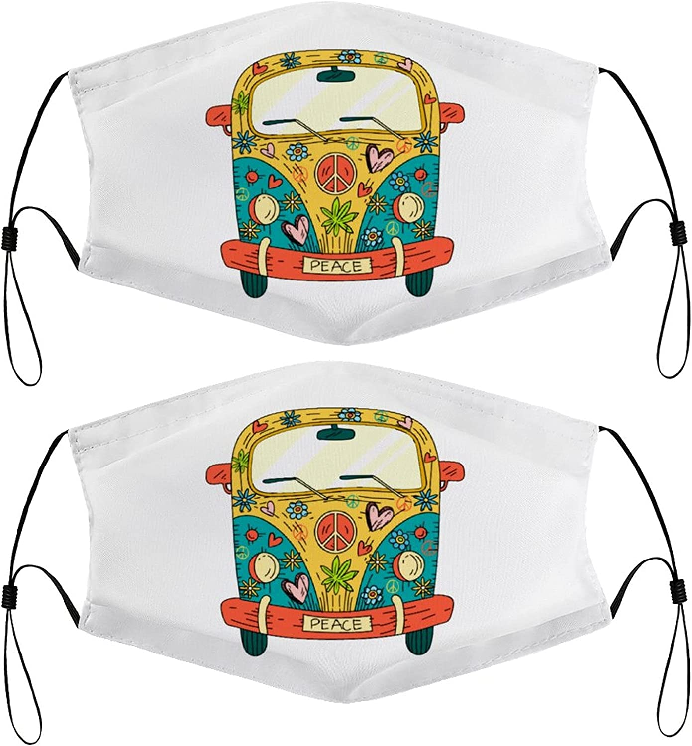 Flower Bus Kids Face Masks Set of 2 with 4 Filters Washable Reusable Breathable Black Cloth Bandanas Scarf for Unisex Boys Girls