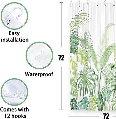 Fowocu Green Tropical Shower Curtain Set, Plant Jungle Palm Leaf Cute Shower Curtains for Bathroom Decor, Modern Fabric Cloth