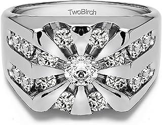 خاتم رجالي من الفضة الإسترلينية من تو بيرش على شكل شروق الشمس مع زركونيا مكعب (1Ct.)