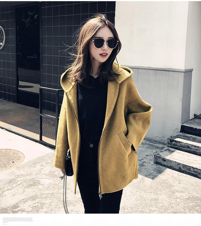 DEED Women's CoatFashionable Woolen Jacket Female Winter Loose Hooded Little Coat Coat Jacket