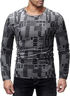 Gergeos Fashion Mens Long-Sleeve Shirts Round Neck Casual Shirts Pullover Sweatshirt Autumn