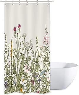 Riyidecor Wild Flower Shower Curtain Botanical Colorful Border Herbs Decor Bathroom Set Windows Balconies Fabric Polyester Waterproof 36x72 Inch Plastic Hooks Vintage
