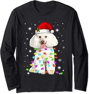 Funny French Poodle Dog Santa Hat Christmas Lights Lover Long Sleeve T-Shirt