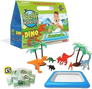 Gelli Worlds Dino Pack, Green, Dino Toy Figures, 5 Use Pack, Children's Sensory & Imaginative Play Set