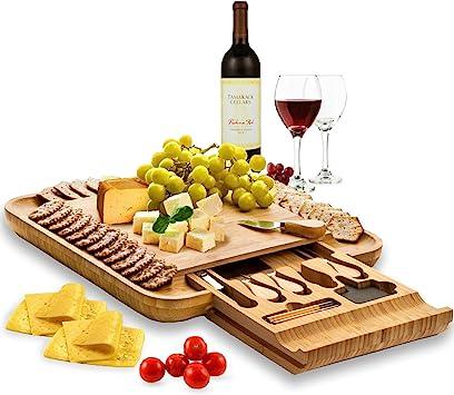 Bambüsi Premium Bamboo Cheese Board and Knife Set