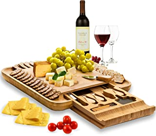 Premium Bamboo Cheese Board Set - Wooden Charcuterie Board Serving Platter with Knife Set, Hidden Slid-Out Drawer - Ideal ...