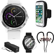 Garmin Vivoactive 3 GPS Fitness Smartwatch w/Deco Gear Runner Bundle - White+Stainless