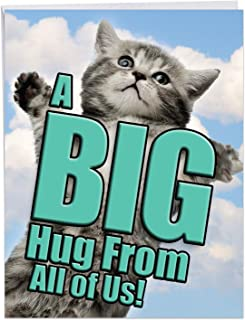 A Big Hug Cat - Pet Cat Get Well Greeting Card with Envelope (Large 8.5 x 11 Inch) - Adorable Pet Kitten, Animal Feel Better Card From All of Us - Get Well Soon Card for Kids, Adults J6614AGWG-US