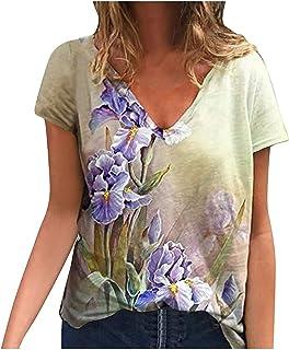 ASKSA Dames bloemenprint cartoon dier print casual T-shirt korte mouwen dierenprint V-hals casual pullover shirts bovenstu...