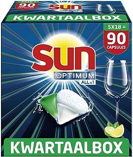 Sun Optimum All-in 1 Lemon Capsules – 90 vaatwastabletten, voor een superieure reiniging en glans – Kwartaalbox