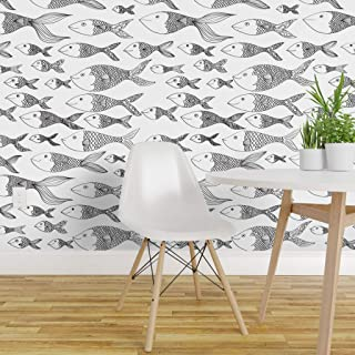 Spoonflower Peel and Stick Removable Wallpaper, Fish Nautical Ocean Sketch School of Black and White Line Drawing Pisces Sea Print, Self-Adhesive Wallpaper 24in x 144in Roll
