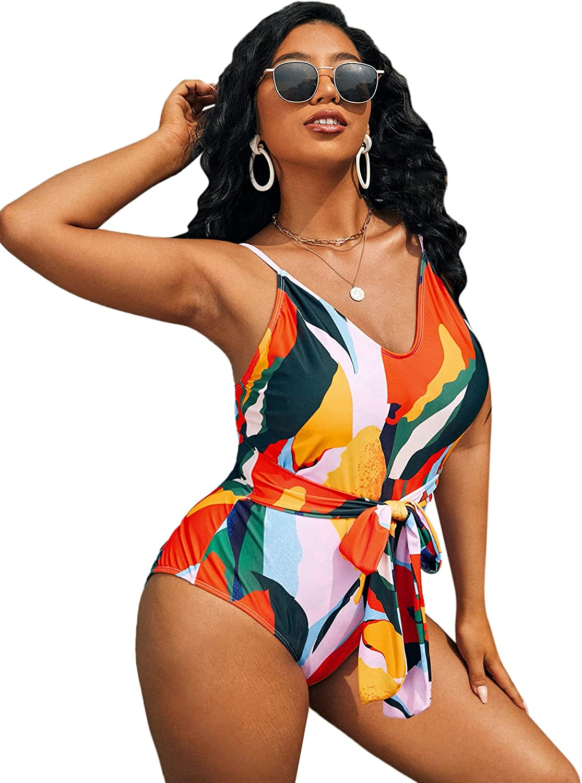 SOLY HUX Women's Plus Size Printed V Neck Tie Front Bathing Suit Monokini One Piece Swimsuit