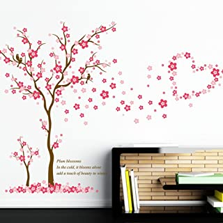 Funif Flower Tree Wall Sticker DIY Removable Wall Decals Decorative Wall Mural Wallpaper for Kids Room Pink Plum Blossom 23.6
