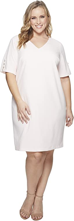 Adrianna Papell - Plus Size Knit Crepe Buttoned Shift