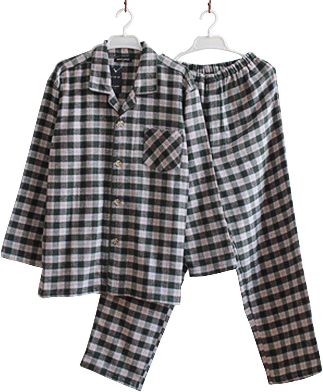 Gihuo Men's Sleepwear Flannel Long Sleeve Placid Pajamas PJ Set