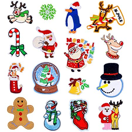 Iron on Patches 35 Pcs Christmas Santa Snowman Snowflake Patch Embroidery Applique Sew Iron On Patches DIY Repair Applique Stickers Badge Applique for Girls DIY Jeans Skirt Clothes Jackets Bags Sewing