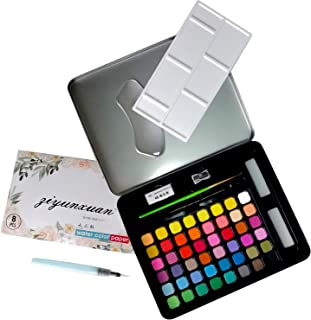 48 Watercolor Paint Sets with 8 Sheets Water Color Paper, Vibrant Pan Paints with Brush Assorted Watercolors Art Kit for P...