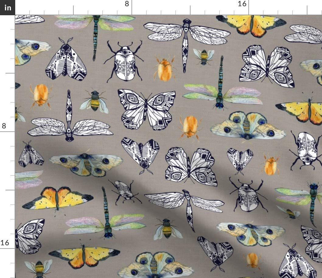 Spoonflower Fabric - Gray Insect Beetle 新色追加 お求めやすく価格改定 Moth Butterfly Dragonfly