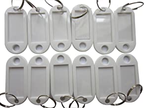 Key Tags Id Labels - LeBeila Plastic Keys Tag Split Ring Keyring Keychains 100 Bulk Fobs Identifiers For Name Cards, Luggage With Label Window (100pcs, White)