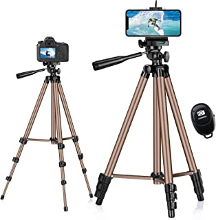 Phone Tripod,Eocean 127 cm/50in Mobile Tripod with Carry Bag, Extendable Aluminum Cell phone Tripod with Bluetooth Remote,...