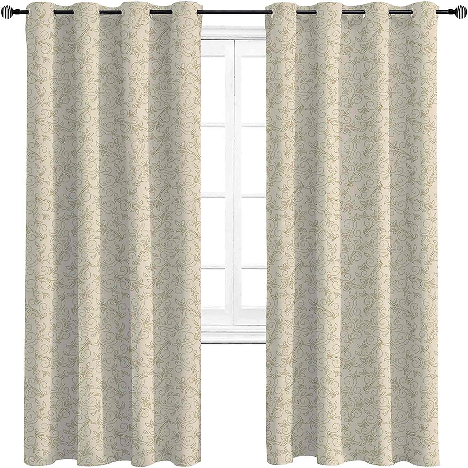 Beige Mesa Mall Room Be super welcome Darkened Insulation Abstract Grommet Floral Curtain