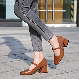 GLJJQMY Women's Shoes New Retro Leather Thick Heel Shoes Comfortable Female Office Professional Shoes 6cm Women's Sandals (Color : Brown, Size : 40)