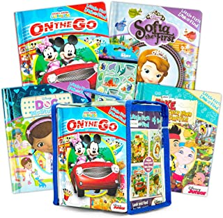 Disney Look and Find Books Lot de 4 livres avec autocollants pour enfant Motif Disney Princess, Minnie Mouse, Sofia The Fi...