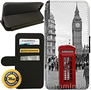 Flip Wallet Case for iPhone 7 (Classic London Red Telephone Box And Big Ben) with Adjustable Stand and 3 Card Holders | Shock Protection | Lightweight | by Innosub
