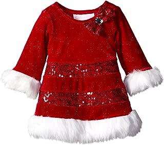 Bonnie Baby Baby-Girls Sequin Band Trim Santa Dress