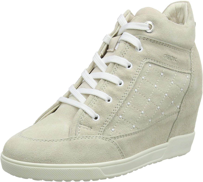 Geox Woherrar D bilum C Hi -Top -Top -Top Trainers (Cream C502), 2.5 Storbritannien  fabriksbutik