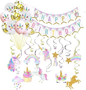 Unicorn Party Decoration Supplies-Unicorn Happy Birthday Banner-30ct Unicorn Hanging Swirl-Balloons Unicorn Party Supplies