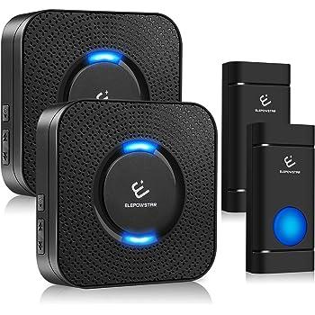 Campanello Senza Fili, ELEPOWSTAR IP55 Impermeabile Wireless Doorbell, 58 Suonerie, 5 Livelli Volume, Raggio d'Azione 300m con Indicatore LED, 2 Trasmettitore e 2 Ricevitore