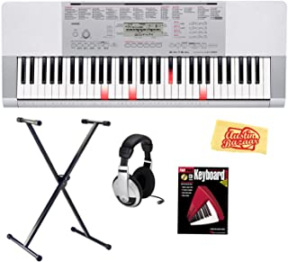 Casio LK-280 61-Key Portable Keyboard with Instructional Light-Up Keys Bundle with Keyboard Stand, Headphones, Instructional Book, and Polishing Cloth