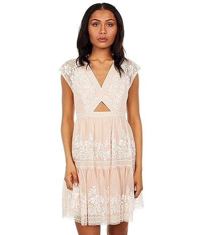 BCBGMAXAZRIA Embroidered Cutout Dress