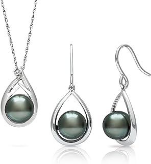 "Tahitian Black Pearl Diamond Pendant and Drop Dangle Earring Set in Sterling Silver, 18"""