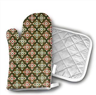 Manopla de horno y soporte para ollas, trébol, guantes para horno, para vacaciones, cocinar, asar, lavable