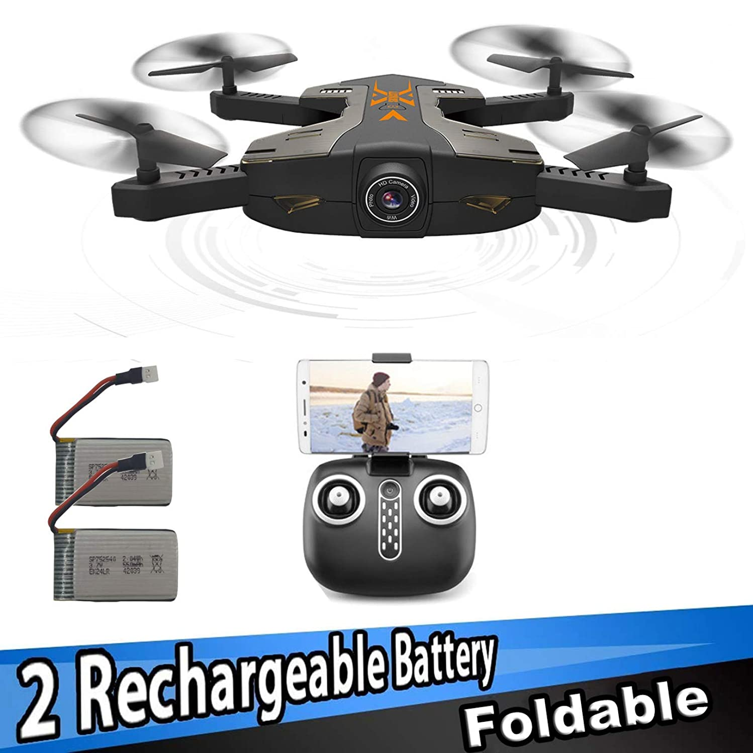SZJJX FPV RC Drones Foldable Remote Control Quadcopter with 720P HD Wide-Angle WiFi Camera 2.4Ghz 6-Axis Gyro 4CH VR Helicopter Rtf with Altitude Hold & One Key Return
