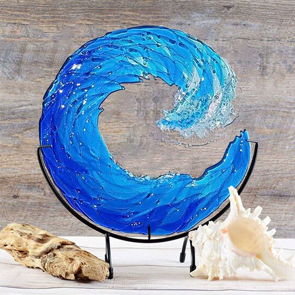 RYKJ F Fused Glass Ocean Suncatcher Max 18 OFF Sun Wave Ornament Cat