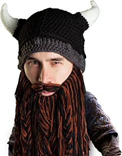 Viking Pillager Beard Beanie - Funny Knit Horned Hat and Fake Beard