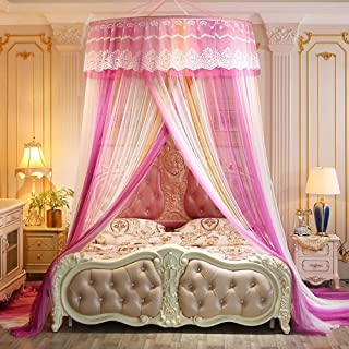 QNJM Round Mosquito Nets, Lace Curtain Dome Mosquito Repellent Tent, Luxury Princess Pastoral Lace Bed Canopy (Color : E)