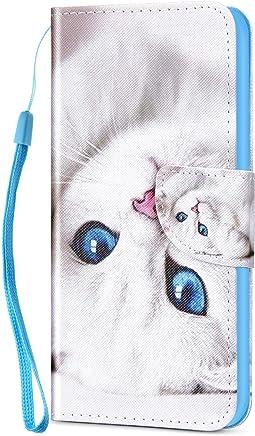 Kompatibel f�r Huawei Honor 8X H�lle Ledertasche Flip Case,QPOLLY Premium PU Leder Gemalt Muster Brieftasche Klapp Schutzh�lle im Bookstyle mit Kredit Karten Fach Magnet Handy H�lle Tasche,Katze