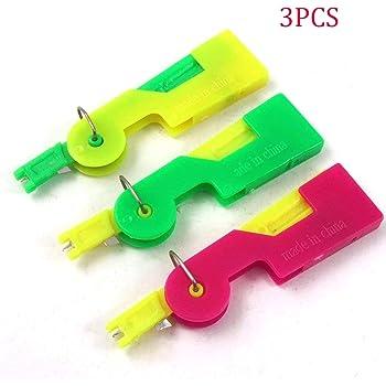 3 enhebradores automáticos de agujas para enhebrar agujas de hilo roscado dispositivo de costura para agujas de mano y máquina de coser agujas de plomo rápido: Amazon.es: Hogar