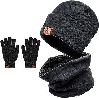 Zenoplige ニット帽 ネックウォーマー キャップ セット 暖かい 裏起毛 防寒 保温 自転車 バイク スキー スポーツ アウトドア 冬 メンズ レディース (ダックグレー-3点セット)