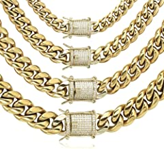 GOLD IDEA JEWELRY 14k Gold Plated Stainless Steel Thick Miami Cuban Link Chain with Lab Diamond Clasp Men's Hip Hop Necklace or Bracelet