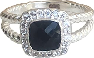Designer Inspired 7x7mm Petite Black Onyx Ring with VS1/E Simulated Diamonds