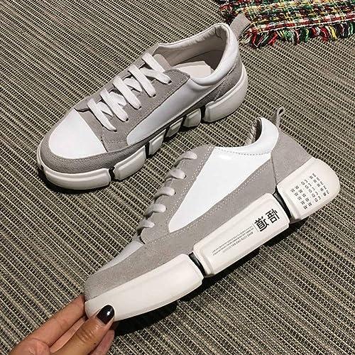 QAZ Chaussures Décontracté Femmes, Chaussures De Sport Décontracté Chaussures Femmes épais Doux Bas Confortable en Cuir Couple Modèles Chaussures