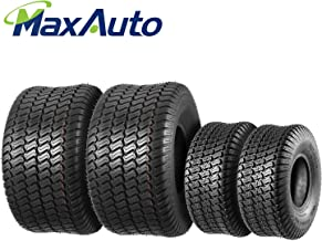 Set of 4 Lawn Mower Turf Tires 15x6-6 Front & 20x10-8 Rear,4PR,Tubeless,DOT Compliant
