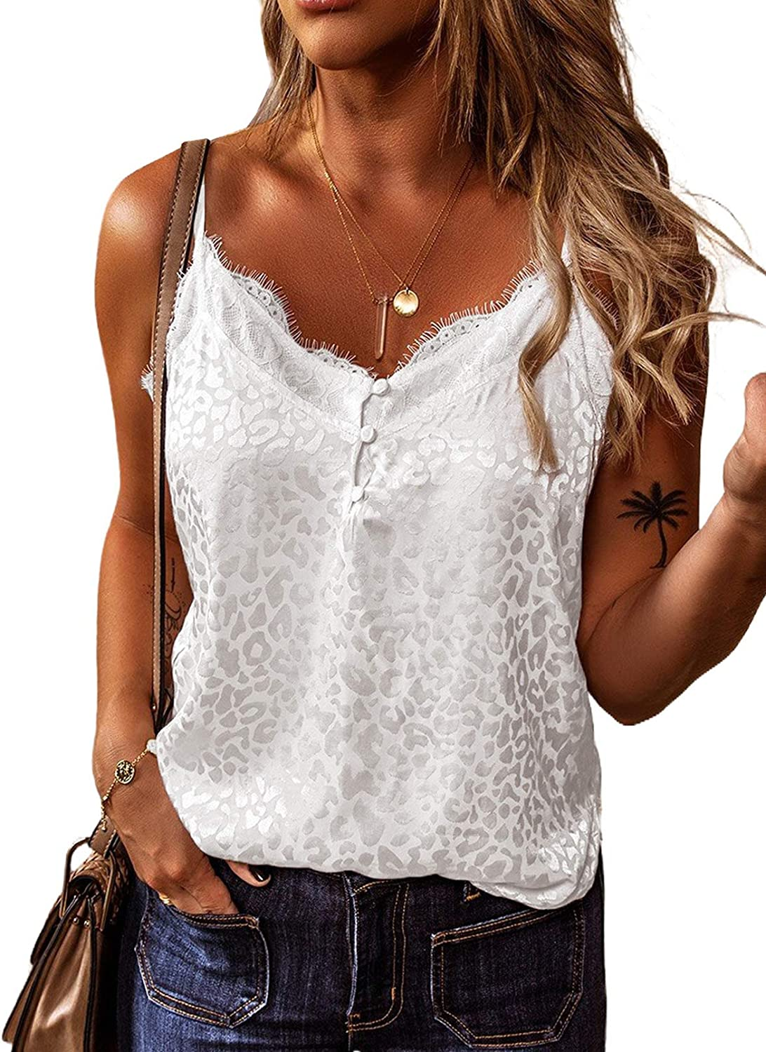 ROSKIKI Women's Casual Buttoned Sleeveless Shirt Solid Color Print Backless Cami Tanks Tops