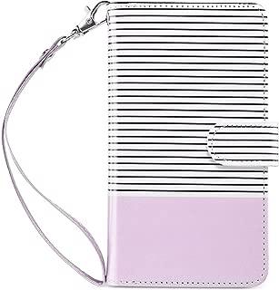 ULAK iPhone 8 Plus Wallet Case, iPhone 7 Plus Case,PU Leather iPhone 7 Plus/8 Plus Wallet Case with Credit Card Slots Magnetic Closure Cover for Apple iPhone 7 Plus /8 Plus-Purple/Minimal Stripes